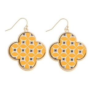 Jewelry - Colorful Wooden Quatrefoil Earrings